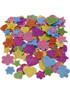 Moosgummifiguren, 19+29 mm, Stern, Herz, Blume, 800sort.